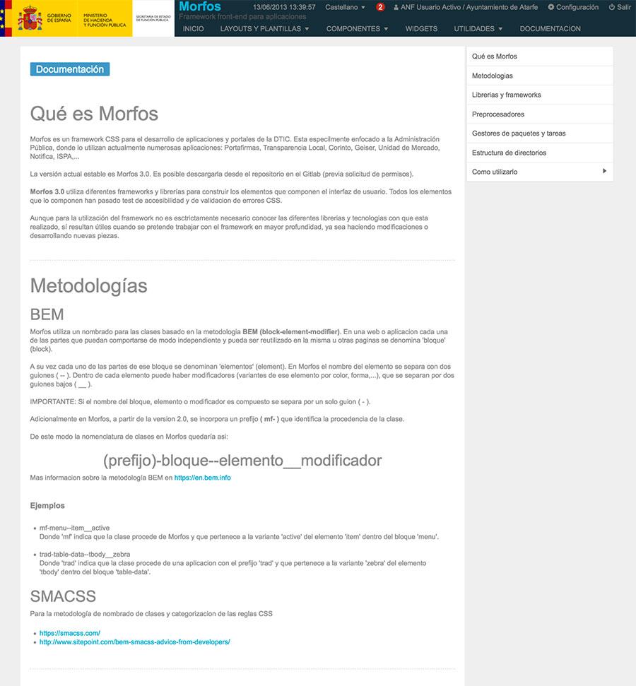 Morfos Frontend Framework: documentacion