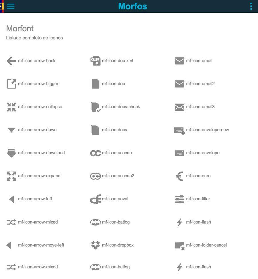 Morfos Frontend Framework: iconos